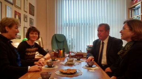 Dr. Sara Zimmerman and Dr. Barbara Howard meet with Russian officials
