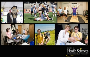 Collage of images from health sciences department, including nursing program, outdoor education, etc.