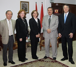 Sara Zimmerman and colleagues in Kurdistan meeting with representatives from Salahaddin University-Erbil during a 2009 trip.